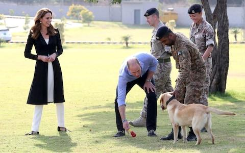 The Duke and Duchess of Cambridge with golden labrador Polka during a visit to the Army Canine Centre - Credit: PA