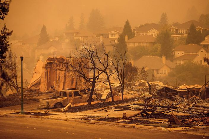 Homes leveled by the Glass Fire line a street in the Skyhawk neighborhood of Santa Rosa, Calif., on Sept. 28, 2020.