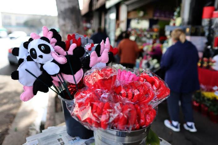 People shop for flowers ahead of Valentine's Day in Los Angeles