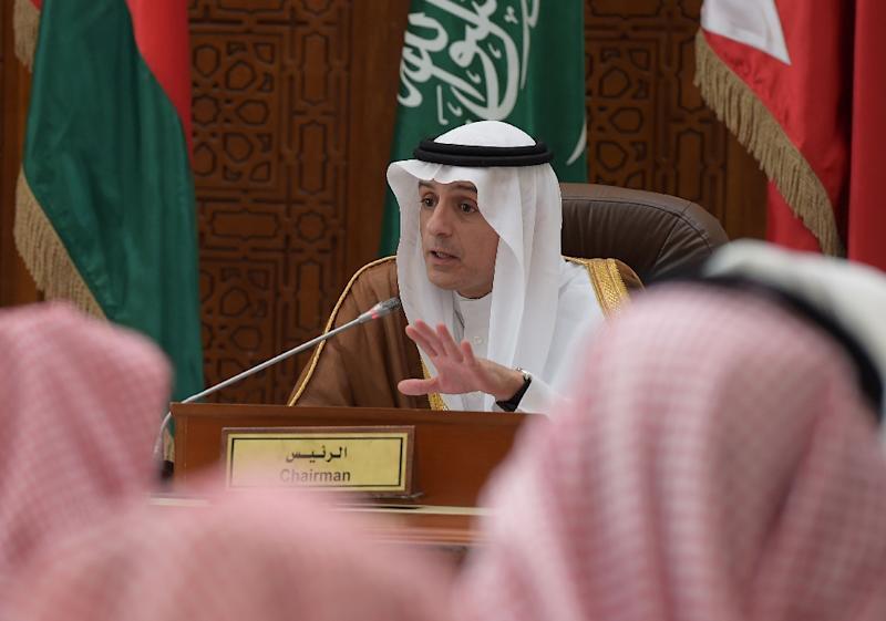 Saudi Foreign Minister Adel al-Jubeir speaks at a Gulf Cooperation Council press conference in Riyadh on January 9, 2016