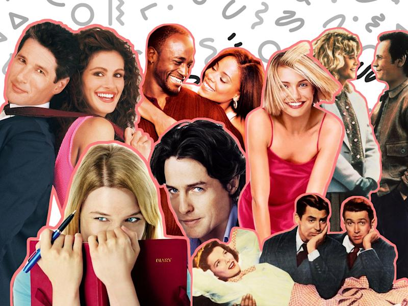 Beautiful people falling in love: Poster artwork from Pretty Woman, Bridget Jones's Diary, Brown Sugar, The Philadelphia Story, There's Something About Mary and When Harry Met Sally: Disney/Universal/Fox/Columbia