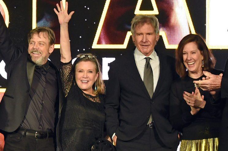 Mark Hamill, Carrie Fisher, Harrison Ford, and Kathleen Kennedy at a Star Wars event in late 2015
