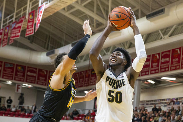 Purdue forward Trevion Williams (50) shoots in the first half of an NCAA college basketball game against Purdue at the Emerald Coast Classic in Niceville, Fla., Friday, Nov. 29, 2019. (AP Photo/Mark Wallheiser)