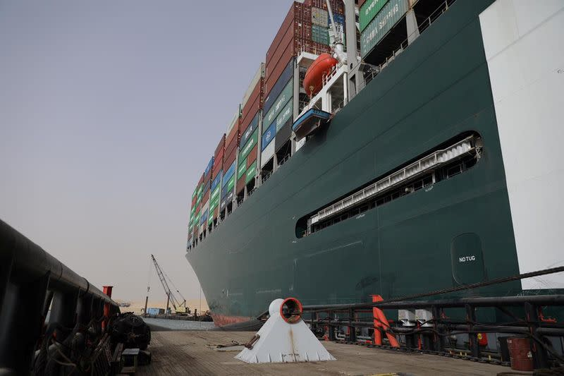 Stranded container ship Ever Given, one of the world's largest container ships, is seen after it ran aground, in Suez Canal