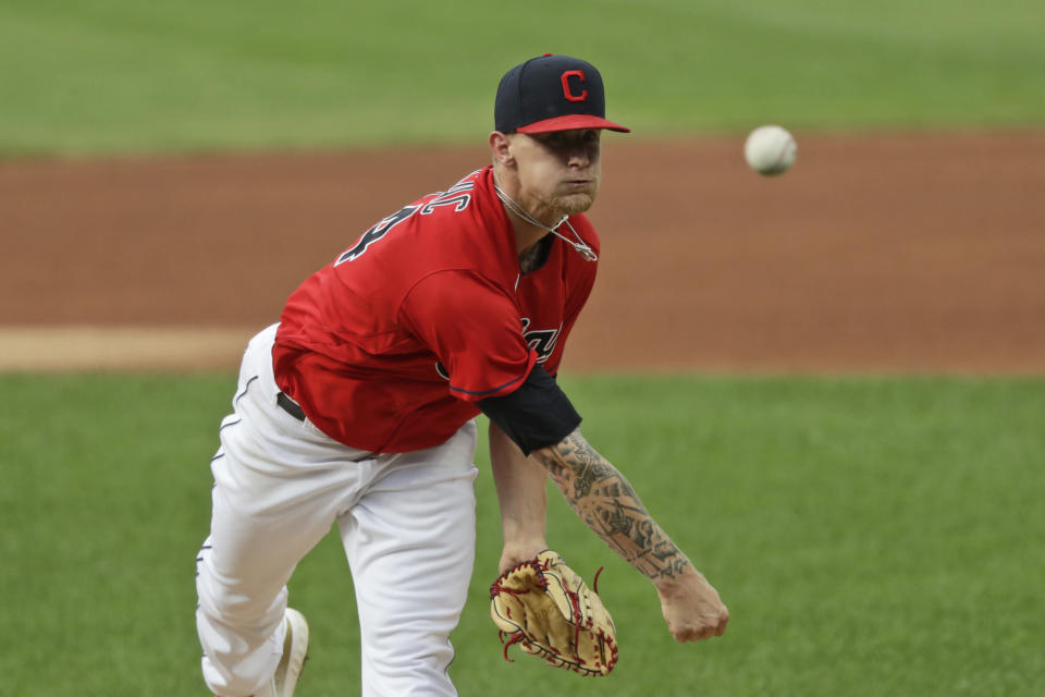 Cleveland Indians starting pitcher Zach Plesac delivers in the first inning in a baseball game against the Chicago White Sox, Wednesday, July 29, 2020, in Cleveland. (AP Photo/Tony Dejak)