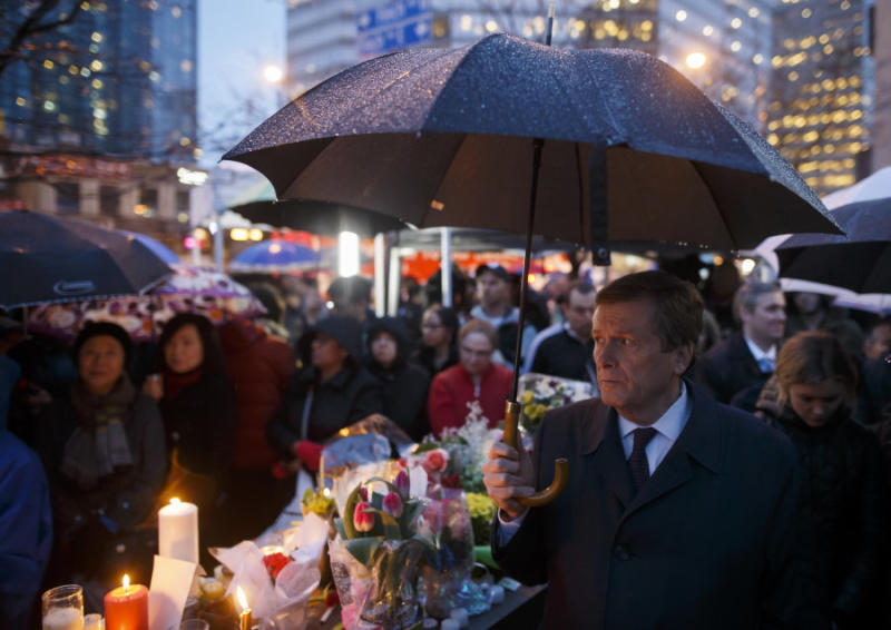 Toronto Mayor John Tory attends a vigil for the victims of the mass killing on April 24, 2018 in Toronto.