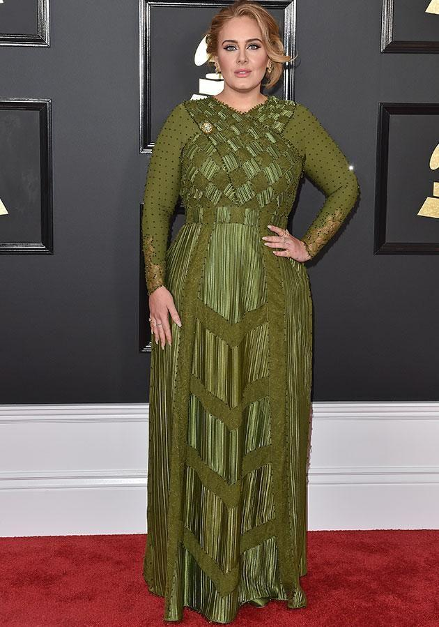 Adele at the 2017 Grammys. Source: Getty