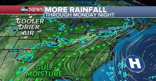 PHOTO: A northeast track of wet weather will be in place for the next few days. (ABC News)