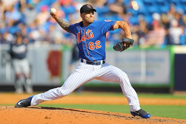 <p>New York Mets pitcher Tyler Bashlor (62) looks on fires as he fires a pitch in the eighth inning of a baseball game against the Atlanta Braves at First Data Field in Port St. Lucie, Fla., Feb. 23, 2018. (Photo: Gordon Donovan/Yahoo News) </p>