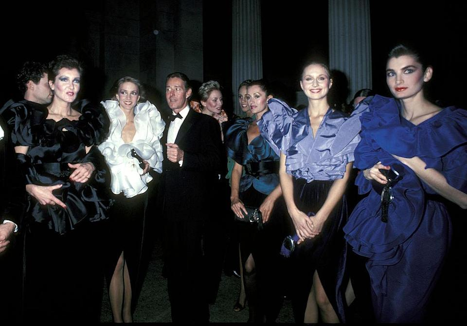 Halston and The Halstonettes (Photo by Ron Galella/Ron Galella Collection via Getty Images) *** Local Caption ***