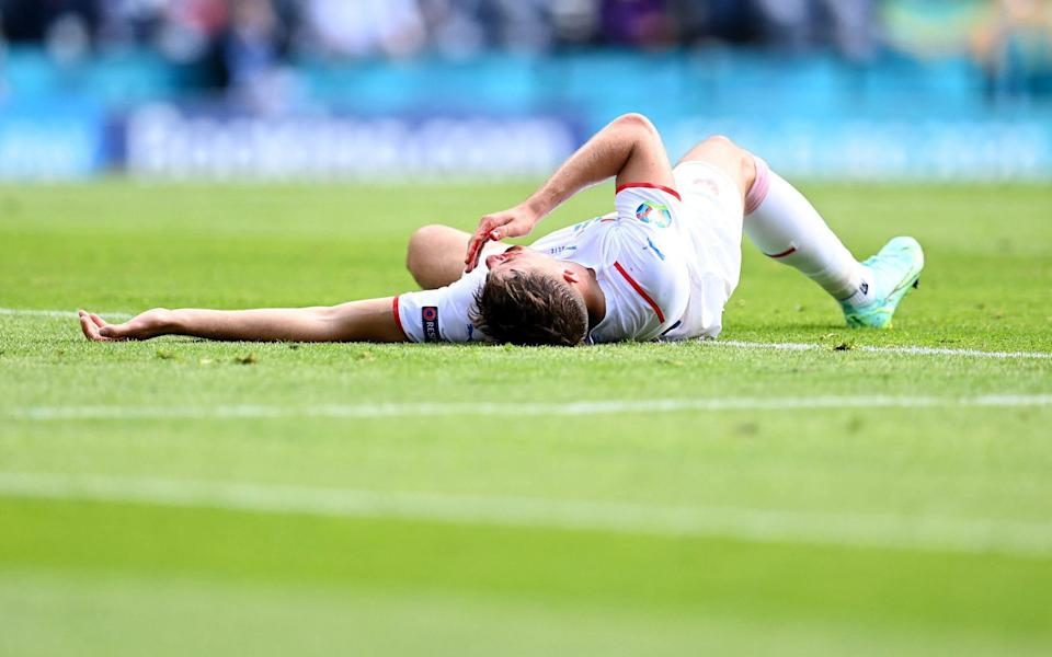 Czech Republic's forward Patrik Schick reacts in pain after a challenge during the UEFA EURO 2020 Group D football match between Croatia and Czech Republic at Hampden Park in Glasgow on June 18, 202 - PAUL ELLIS/POOL/AFP via Getty Images)