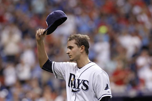 ST. PETERSBURG, FL - JUNE 10: Pitcher Jake Odorizzi #23 of the Tampa Bay Rays tips his hat to the crowd as he comes off the mound during the eighth inning of a game against the St. Louis Cardinals on June 10, 2014 at Tropicana Field in St. Petersburg, Florida. (Photo by Brian Blanco/Getty Images)
