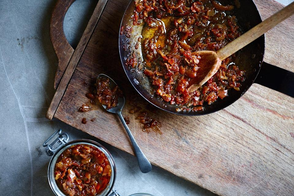 """This is the ultimate sweet and savory spread: bacon, whiskey, warm spices, and brown sugar. Serve it on a cheese board or just with hot buttered toast. <a href=""""https://www.epicurious.com/recipes/food/views/bacon-and-whiskey-jam?mbid=synd_yahoo_rss"""" rel=""""nofollow noopener"""" target=""""_blank"""" data-ylk=""""slk:See recipe."""" class=""""link rapid-noclick-resp"""">See recipe.</a>"""