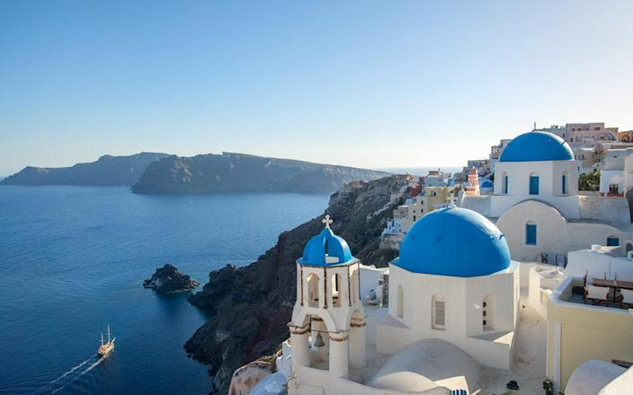 Santorini has lost its travel corridor with England - Getty