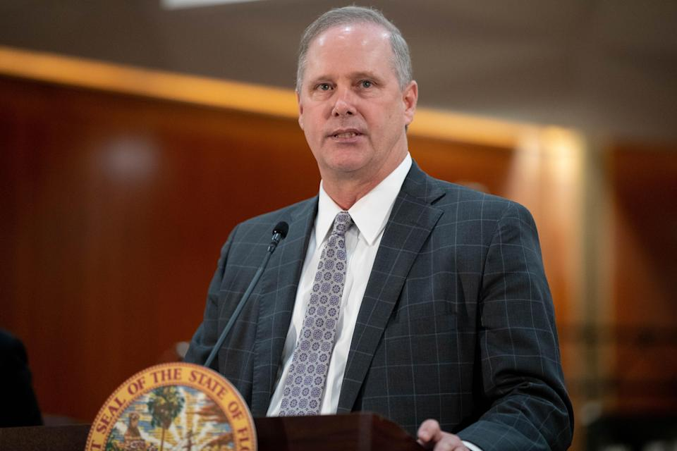 Senate President Wilton Simpson speaks during a press conference where Gov. Ron DeSantis signed into law SB 72, giving COVID liability protections to Florida businesses in the Cabinet meeting room of the Capitol Monday, March 29, 2021.