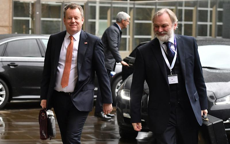 David Frost (left), the UK's chief negotiator, arrives in Brussels before the coronavirus pandemic forced talks online. - Leon Neal/Getty Images Europe