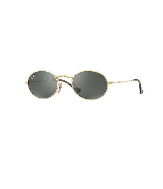 """<p>Oval Flat Lenses, $150, <a href=""""https://www.ray-ban.com/usa/sunglasses/RB3547N%20MALE%20009-oval%20flat%20lenses-gold/8053672611526?category_Id=332648"""" rel=""""nofollow noopener"""" target=""""_blank"""" data-ylk=""""slk:ray-ban.com"""" class=""""link rapid-noclick-resp"""">ray-ban.com</a> </p>"""