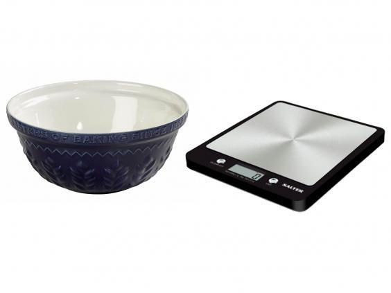 A large stoneware mixing bowl, like this one from Tala £30.99, and Salt evo digital scales, £20, are two baking essentials