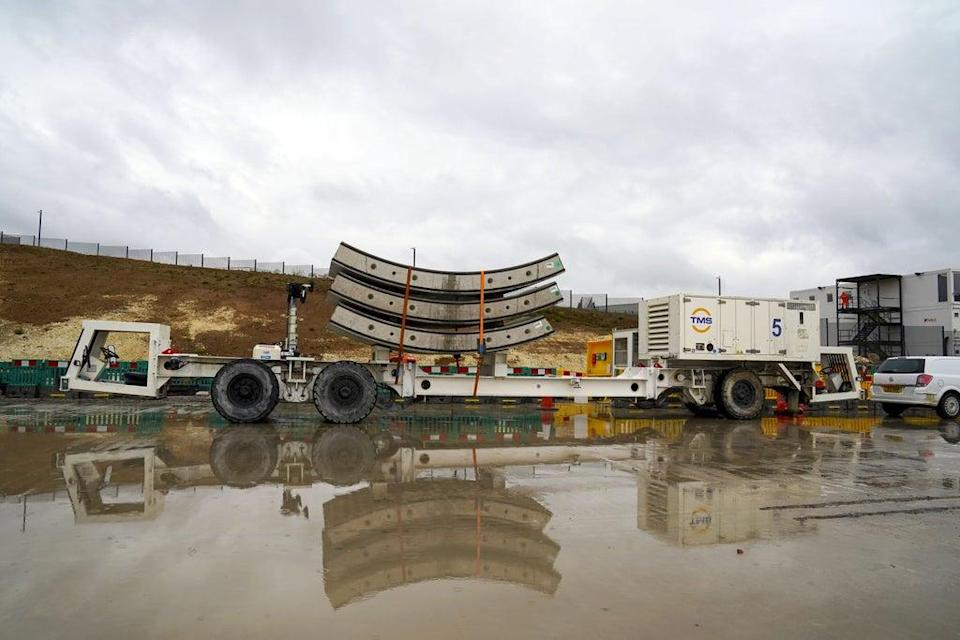 Tunnel segments wait to be loaded onto Florence – the largest ever tunnel boring machine used on a UK rail project – which is unveiled at the HS2 site in West Hyde near Rickmansworth in Hertfordshire (Steve Parsons/PA) (PA Wire)