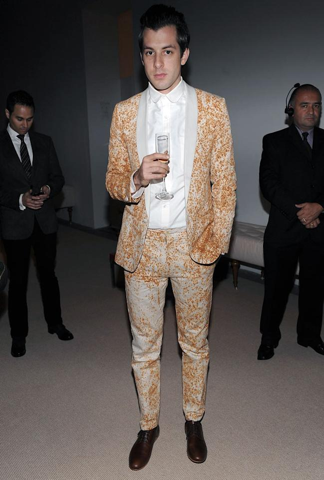 "Celeb DJ Mark Ronson's rusty, splatter-painted getup ... hot or not? Dimitrios Kambouris/<a href=""http://www.wireimage.com"" target=""new"">WireImage.com</a> - November 16, 2009"
