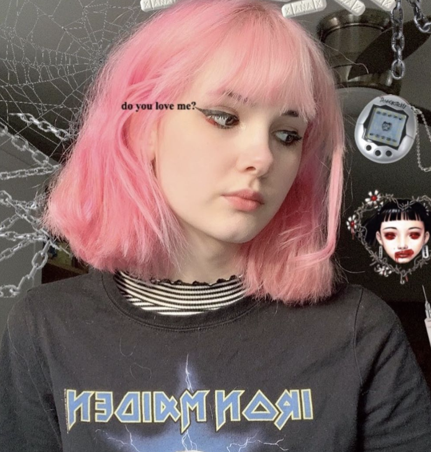 Bianca Devins is seen in an Instagram photo looking off to the side with pink hair and the caption 'do you love me?'.