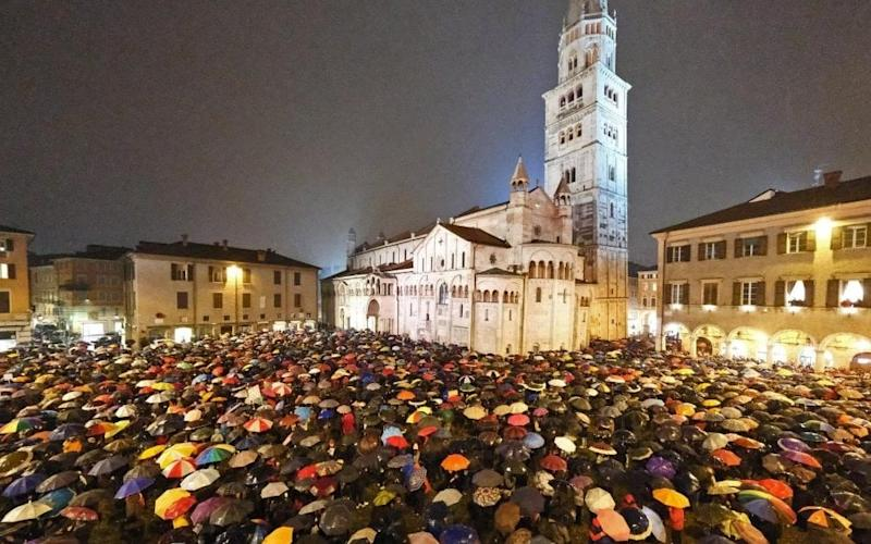 In a protest organised by the Sardines in Modena, thousands of supporters crammed into a piazza