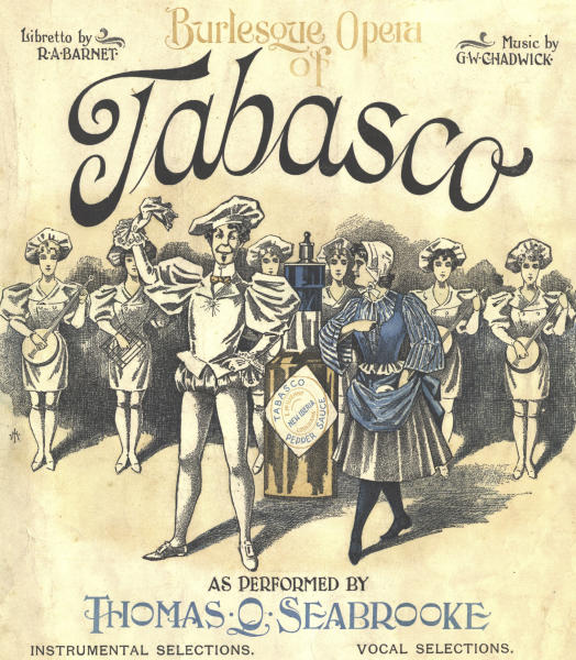 This image provided by Courtesy McIlhenny Company Archives shows cover art for sheet music from the original Tabasco opera in 1894. Love, hate and hot sauce are themes of the 19th century comic opera being produced this year as a kickoff to the city's 300th anniversary, the 150th for Tabasco sauce and the New Orleans Opera's 75th. (Courtesy McIlhenny Company Archives via AP)