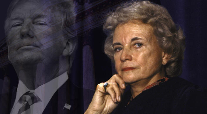 President Trump; Supreme Court Justice Sandra Day O'Connor in 1992. (Photo illustration: Yahoo News; photos: Evan Vucci/AP, Diana Walker//Time Life Pictures/Getty Images, Getty Images)