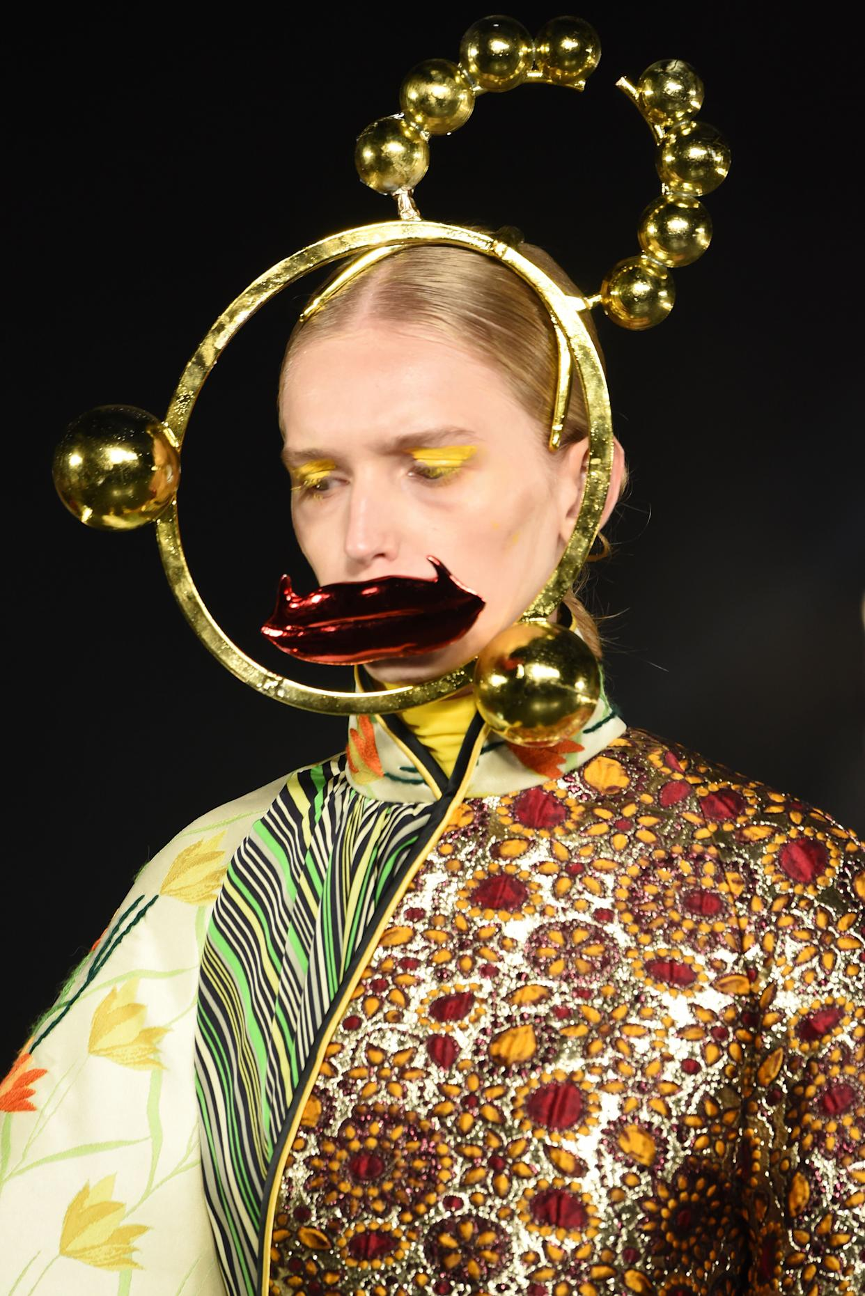 Shuting Qiu, another designer who showed her collection at the VFiles event, accessorized outfits with surreal sculptural head pieces.