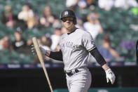 New York Yankees' Clint Frazier walks back to the dugout after striking out during the fifth inning of a baseball game against the Detroit Tigers, Saturday, May 29, 2021, in Detroit. (AP Photo/Carlos Osorio)