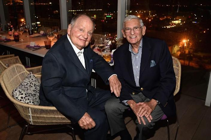 MIAMI BEACH, FL - DECEMBER 02: Douglas Cramer and Eli Broad attend the Vanity Fair And NSU Art Museum's Private Dinner Hosted By Bob Colacello And Bonnie Clearwater In Honor Of Douglas S. Cramer at Juvia on December 2, 2015 in Miami Beach, Florida. (Photo by Bryan Bedder/Getty Images for Vanity Fair)