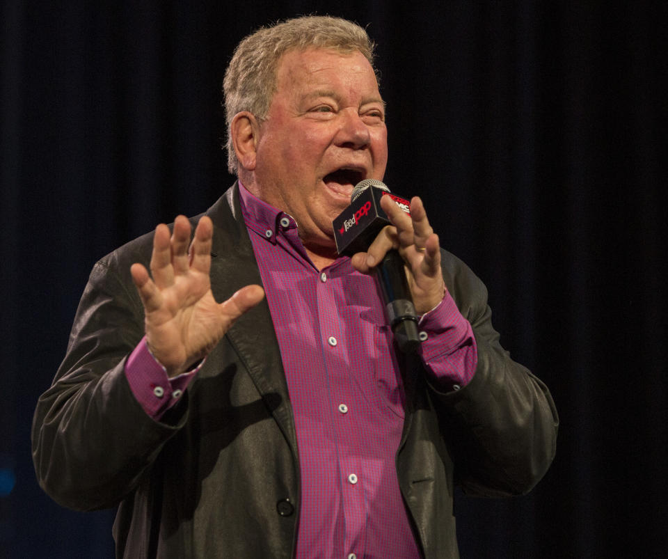 CHICAGO, IL - MARCH 01:  Actor William Shatner during C2E2 at McCormick Place on March 01, 2020 in Chicago, Illinois.  (Photo by Barry Brecheisen/WireImage)