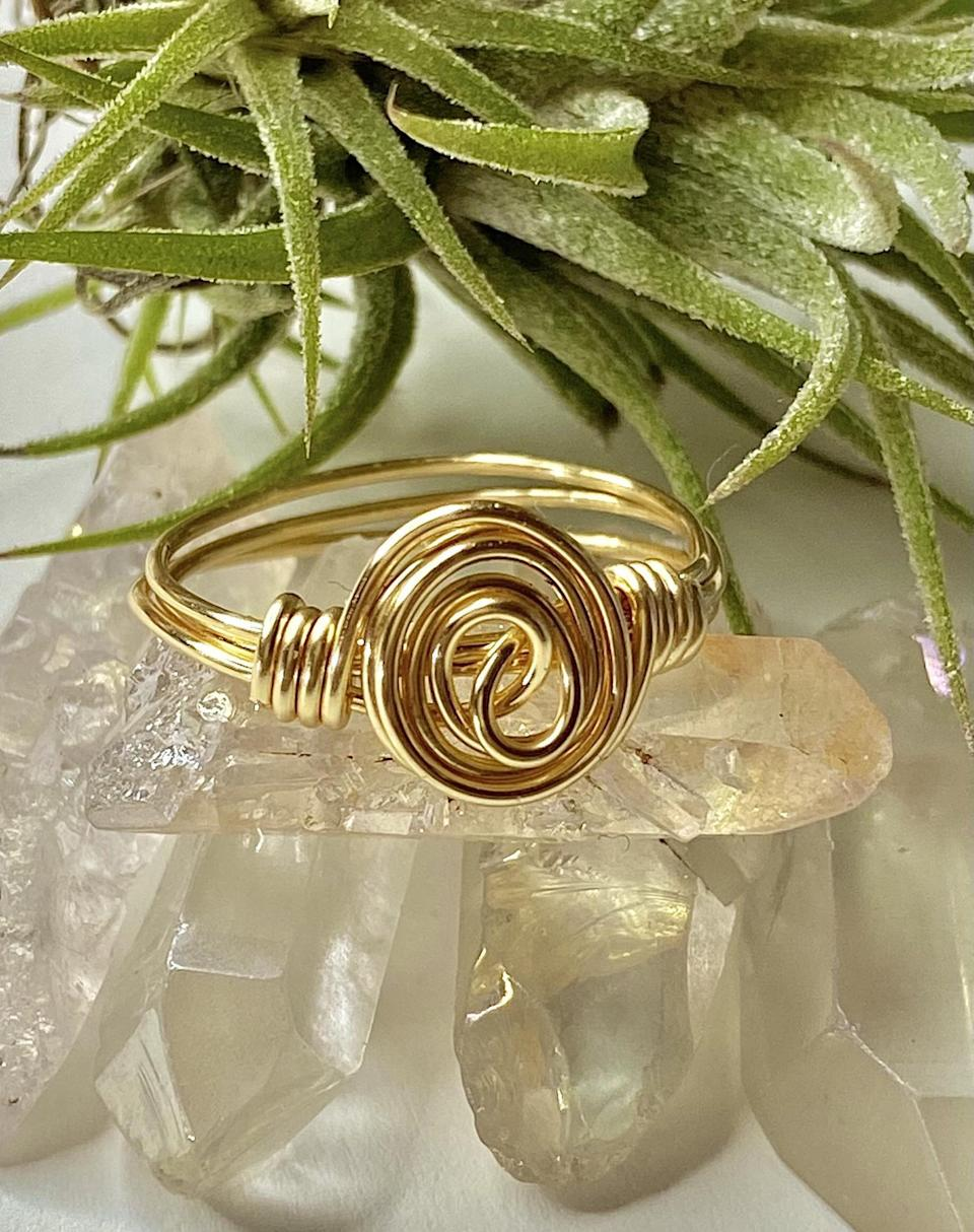 <p>This handmade <span>Jewelry Ave Studio Infinity Spiral Ring</span> ($10) is elegant and polished, making it an attention-grabbing addition to any look. I find the infinity spiral especially charming as it conjures up images of eternal love or friendship.</p>