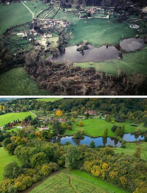 how Chartwell looked after the Great Storm of 1987 and how it looks now. - Credit: Mike Calnan/National Trust/PA