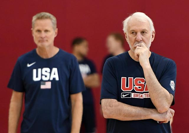 Gregg Popovich and Steve Kerr slammed lawmakers for their inaction after the latest mass shootings this weekend while at USA Basketball training camp in Las Vegas. (Ethan Miller/Getty Images)