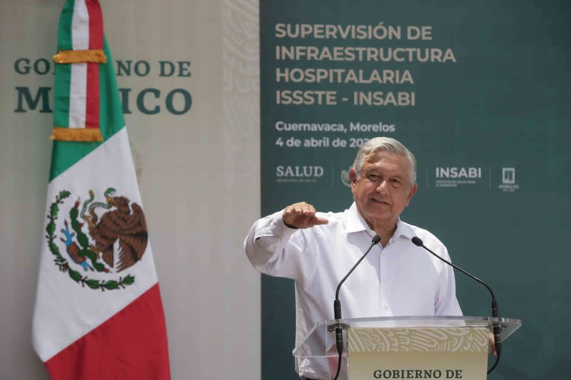 Mexico's President Andres Manuel Lopez Obrador talks to the media after touring a family clinic in Cuernavaca