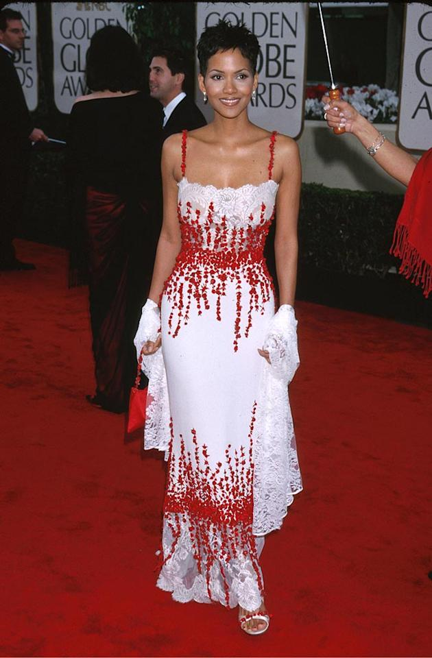 "Halle Berry flaunted her curves in a red and white gown the year she won a Golden Globe for her performance in the HBO movie ""Introducing Dorothy Dandridge."" Jeffrey Mayer/<a href=""http://www.wireimage.com"" target=""new"">WireImage.com</a> - January 23, 2000"