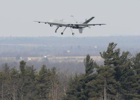 A U.S. Air Force MQ-9 Reaper unmanned aerial vehicle takes off on a training mission at Wheeler-Sack Army Airfield, Fort Drum, N.Y. in this USAF handout photo