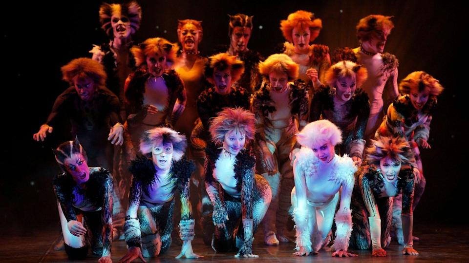 Mandatory Credit: Photo by Christophe Ena/AP/Shutterstock (6729129k)Performers in cat costumes dance during a press presentation to promote the musical Cats, in Paris, France, .