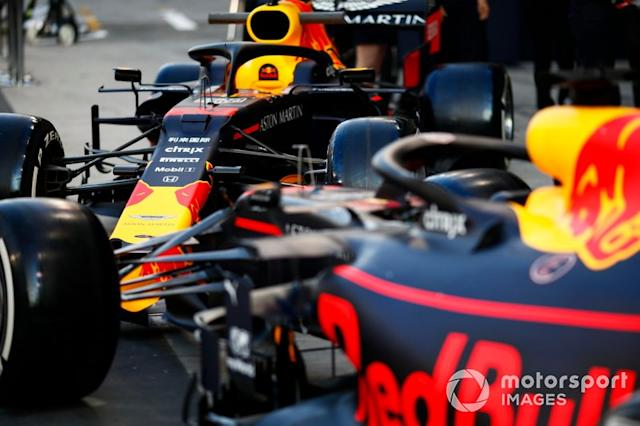 "The Alexander Albon Red Bull RB15, and Max Verstappen Red Bull Racing RB15 <span class=""copyright"">Andrew Hone / Motorsport Images</span>"
