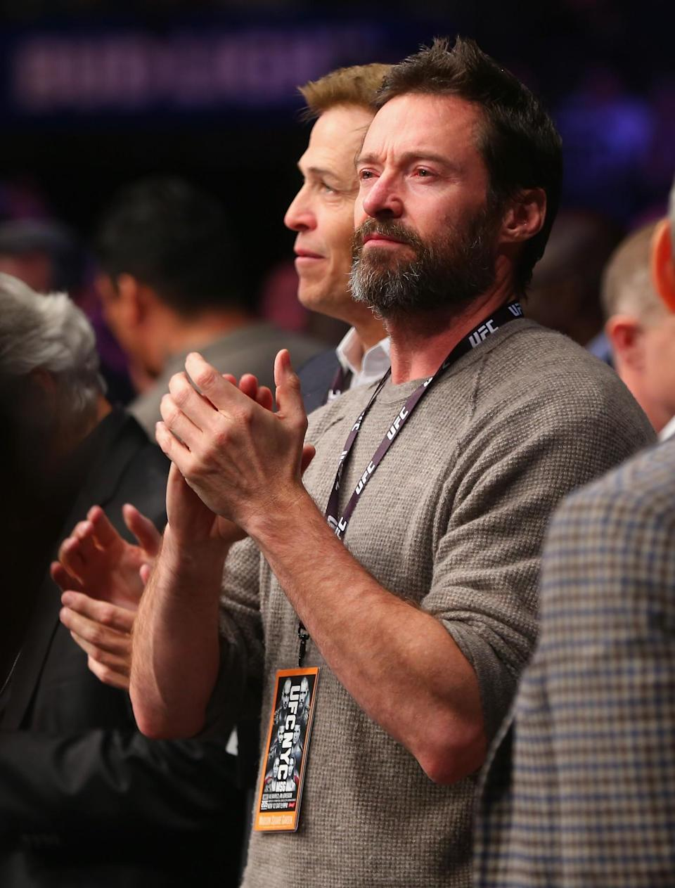 <p>Actor Hugh Jackman is seen during the UFC 205 event at Madison Square Garden on November 12, 2016 in New York City. (Photo by Mike Stobe/Zuffa LLC/Zuffa LLC via Getty Images) </p>