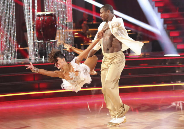 """Karina Smirnoff and Jacoby Jones perform on """"Dancing With the Stars."""""""