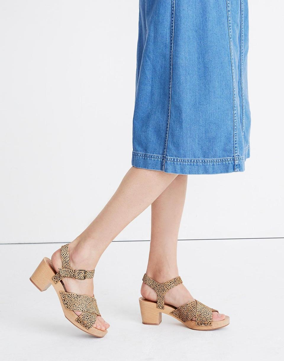 """<br> <br> <strong>Madewell</strong> The Johanna Crisscross Clog Sandal in Spotted Calf Hair, $, available at <a href=""""https://go.skimresources.com/?id=30283X879131&url=https%3A%2F%2Fwww.madewell.com%2Fthe-johanna-crisscross-clog-sandal-in-spotted-calf-hair-AH731.html"""" rel=""""nofollow noopener"""" target=""""_blank"""" data-ylk=""""slk:Madewell"""" class=""""link rapid-noclick-resp"""">Madewell</a>"""