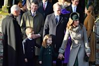 "<p>Prince George and Princess Charlotte <a href=""https://people.com/royals/prince-george-and-princess-charlotte-make-their-christmas-day-debut-alongside-william-and-kate/"" rel=""nofollow noopener"" target=""_blank"" data-ylk=""slk:made their Christmas Day &quot;royal walk&quot; debut in 2019"" class=""link rapid-noclick-resp"">made their Christmas Day ""royal walk"" debut in 2019</a> alongside their parents (baby Louis stayed home). </p>"