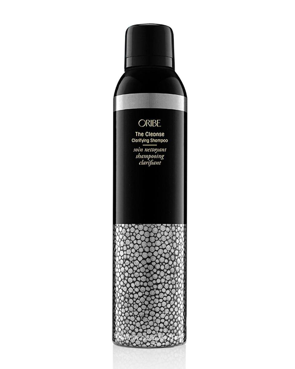 """<p><strong>ORIBE</strong></p><p>amazon.com</p><p><strong>$44.00</strong></p><p><a href=""""http://www.amazon.com/dp/B01BXRU8TG/?tag=syn-yahoo-20&ascsubtag=%5Bartid%7C10049.g.20716291%5Bsrc%7Cyahoo-us"""" rel=""""nofollow noopener"""" target=""""_blank"""" data-ylk=""""slk:Shop Now"""" class=""""link rapid-noclick-resp"""">Shop Now</a></p><p>Inside this can is a super-fluffy, shaving-cream-like mousse that's actually a clarifying <a href=""""https://www.cosmopolitan.com/style-beauty/beauty/g28084441/mild-shampoo/"""" rel=""""nofollow noopener"""" target=""""_blank"""" data-ylk=""""slk:shampoo"""" class=""""link rapid-noclick-resp"""">shampoo</a>. <strong>I</strong><strong>t uses sea kelp, eucalyptus, and volcanic ash powder (hence the black tint) to get rid of buildup and oil.</strong> Pump out a golf-ball-size amount of foam and massage it into your scalp and curls as needed, followed by conditioner.</p>"""