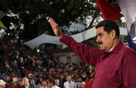 Venezuela's President Nicolas Maduro attends an event with supporters in Caracas