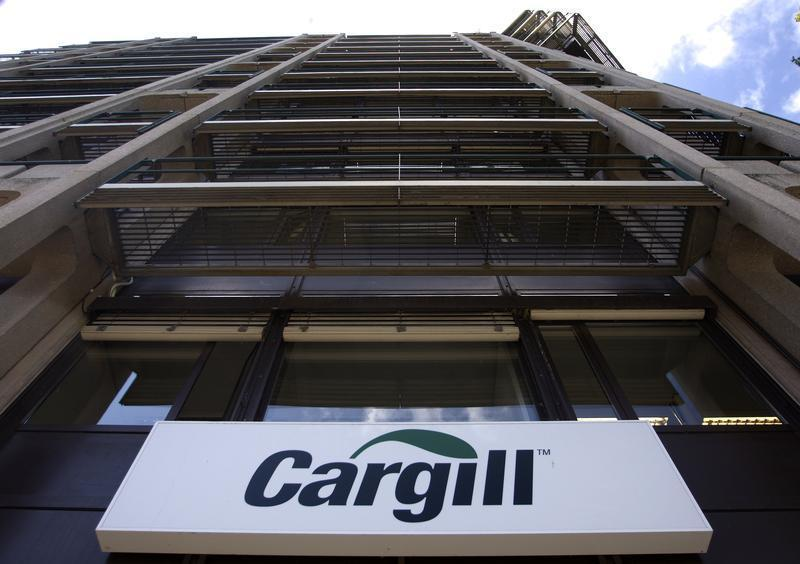 A logo is pictured on the building of Cargill International SA in Geneva