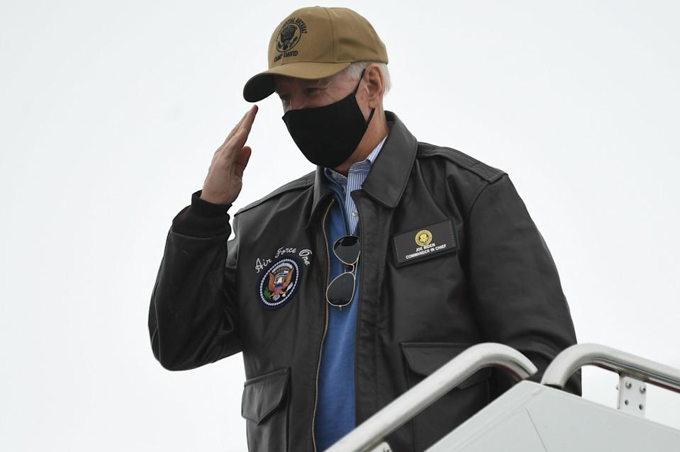 Joe Biden sports his presidential 'swag' as he leaves Maryland to return to the White House (AFP via Getty Images)