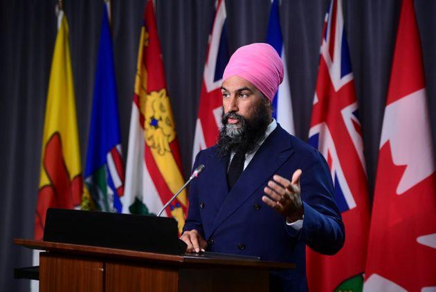 NDP Leader Jagmeet Singh holds a press conference on Parliament Hill in Ottawa on Sept. 22, 2020.