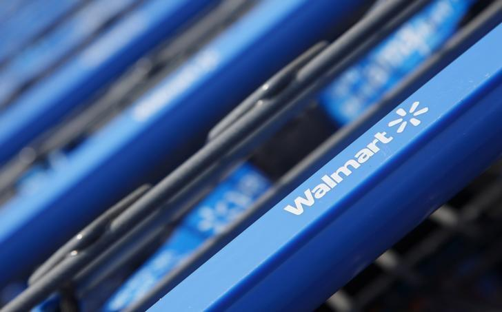 Shopping carts are seen outside a new Wal-Mart Express store in Chicago